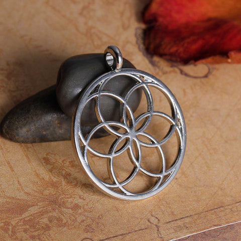 FLOWER OF LIFE ALLOY SEED OF LIFE PENDANTS ROUND GOLD COLOR