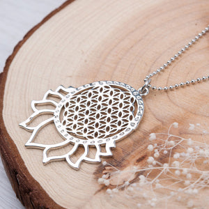 HANDMADE FLOWER OF LIFE NECKLACE SILVER TONE COLOR HOLLOW