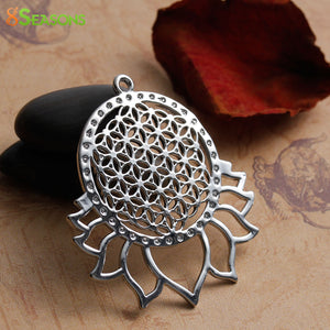 "Copper Flower Of Life Pendants Silver Tone Color Hollow Carved 4.6cm(1 6/8"") x 4cm(1 5/8""), 1 Piece"