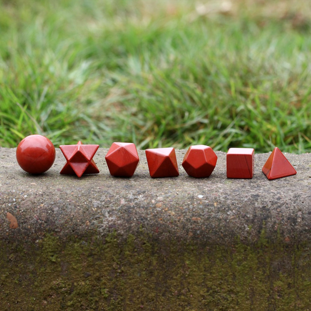 Sacred Geometry Symbols Engraved Red Jasper Stone