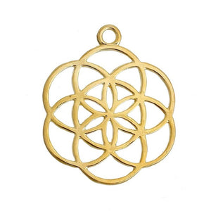 ALLOY SEED OF LIFE PENDANTS FLOWER SILVER COLOR/GOLD COLOR HOLLOW CARVED