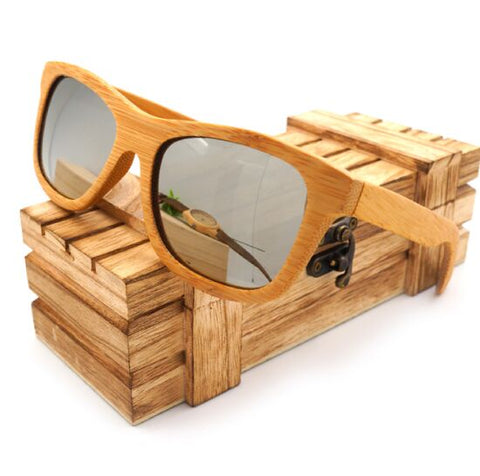 100% Natural Bamboo Wooden Sunglasses Handmade Polarized Mirror Coating