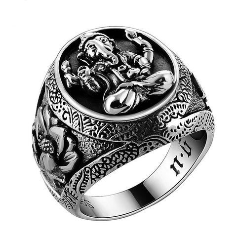 Thai Silver Buddha Elephant Ring Authentic 100% 925 Sterling Silver Rings