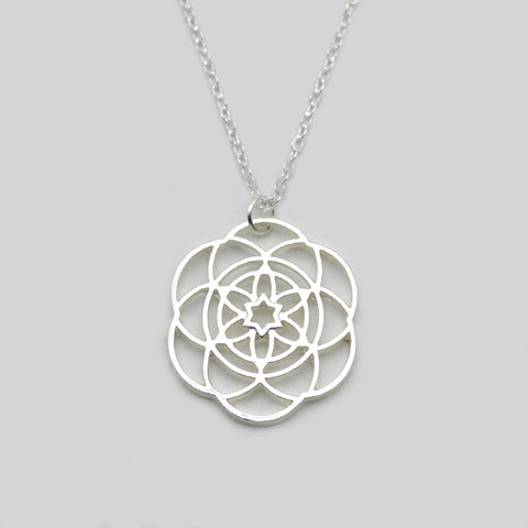 Silver Flower Of Life Necklace- Mantra Flower Pendant- Sacred Geometry