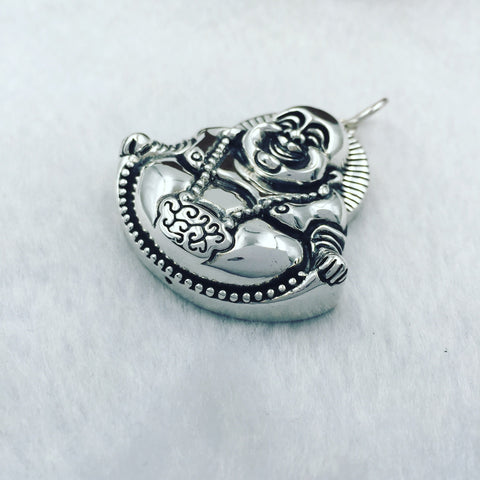 925 Sterling Silver Laughing Buddha Belly Pendant