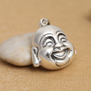 Handcrafted 925 Silver Tibetan Laughing Buddha Head Pendant