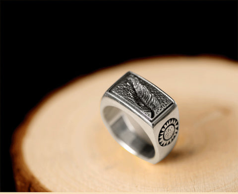 HANDMADE JEWSILVERY MEN RING LEAVES LOVE SWORD SUN VINTAGE RETRO