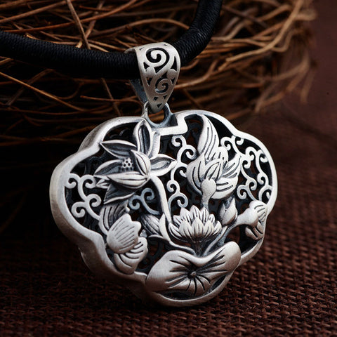 925 Silver Flower Pendant 100% Pure S925 Solid Thai Silver Lotus Pendants