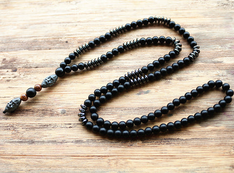 Black Men's Hematite Carving Bead Necklace