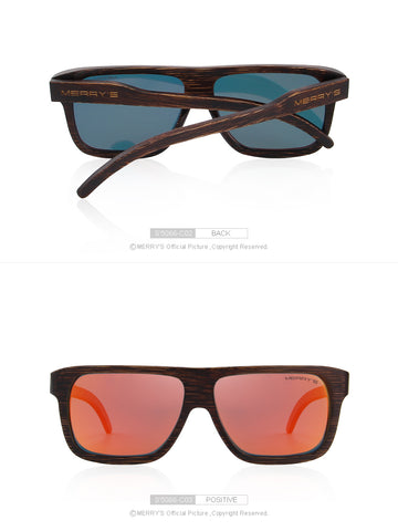 Men Wooden Sunglasses Square Polarized Sun Glasses