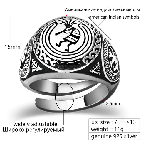 Men's American Indian Vintage Solid 925 Silver Rings