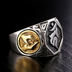 SIGNET RINGS BUDDHA RING GOLD BIG VINTAGE PUNK STEAMPUNK ROCK BIKER SILVER JEWELRY