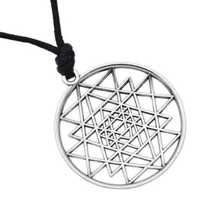 Sri Yantra Flower Of Life Circle Pendant Necklace