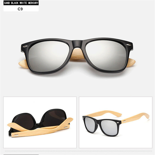 Men Women Wood Foot Glasses Goggles Coating Mirrored Bamboo feet Sunglasses