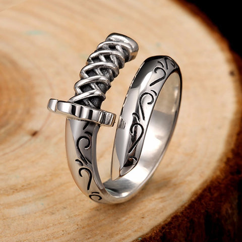 Genuine 925 Sterling Silver-  Saber Warrior Sword RIng