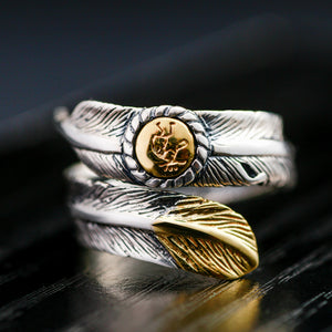 925 Sterling Silver Gold Color Feather Designed Ring