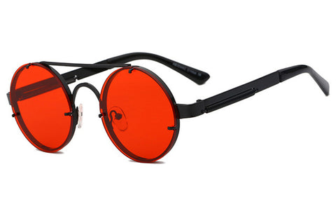 Brand designer red round sun glasses for women vintage metal sunglass