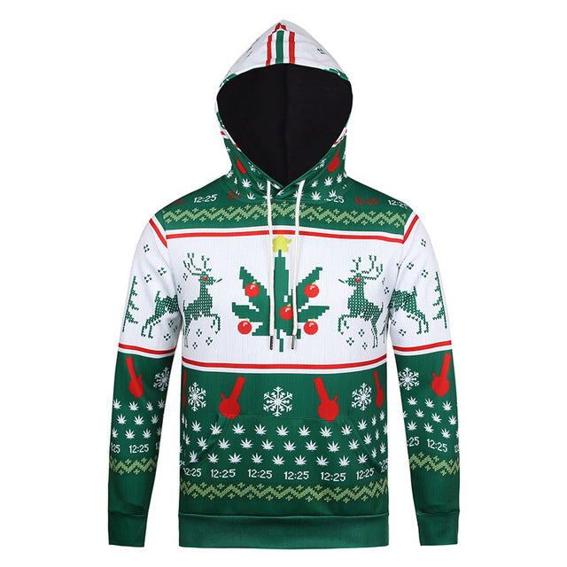 FASHION YOUTH HOODED HOODIES MEN CHRISTMAS REINDEER SNOWFLAKES
