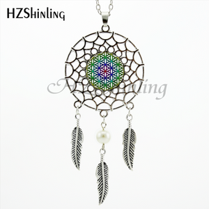 TRENDY STYLE DREAMCATCHER PENDANT FLOWER OF LIFE OM NECKLACE MANDALA JEWELRY