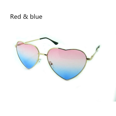 NEW FASHION HEART SHAPED SUNGLASSES WOMEN METAL REFLECTIVE LENES