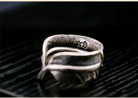 925 Sterling Silver Feather Horseshoe Ring