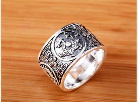Sterling Silver 999 Ring Men Vintage Men Rings Chinese 4 Creatures Ring