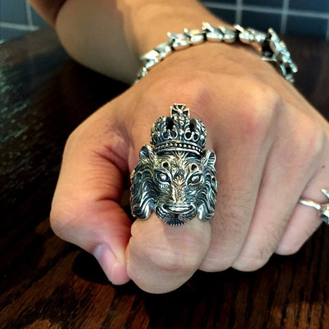 REAL SOLID 925 STERLING SILVER CROWN LION KING RING FOR PUNK RETRO VINTAGE COOL BIG  BIKER LION HEAD RING