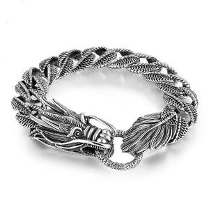 Sterling 925 Silver Dragon Curb Chain Bracelet Thai Vintage Style Dragon Bracelet