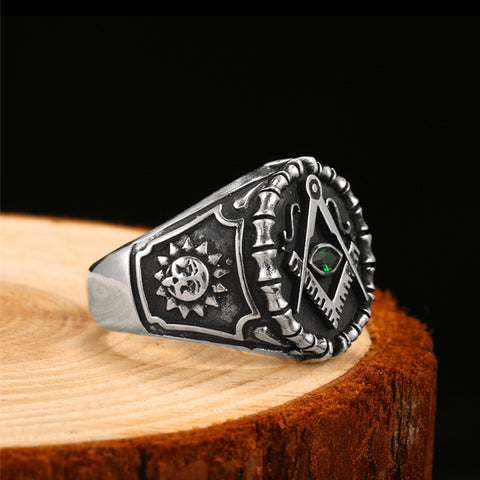 Vintage 925 Silver Ring Mens Green Cubic Zirconia Masonic Rings