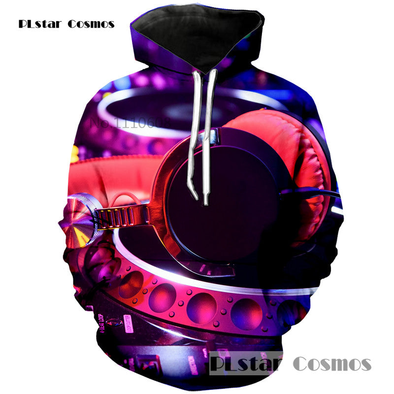 DJ HEADPHONES HOODIE FASHION CASUAL SWEATSHIRT SPRING AND AUTUMN MEN AND WOMEN HOODIE