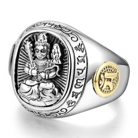 Men's Buddha Real 925 Sterling Silver Rings- Chinese Zodiac