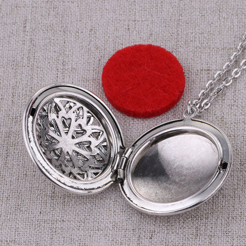 ANTIQUE SILVER AROMATHERAPY ESSENTIAL OIL DIFFUSER NECKLACE