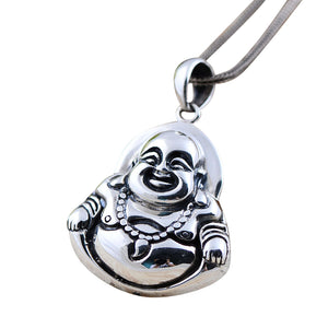 Vintage Real 925 Sterling Silver Jewelry Thai Matte Laughing Buddha Pendant