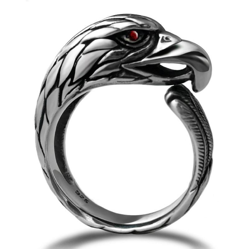 ZABRA Solid 925 Silver Vintage Black Ring Men Adjustable Ring