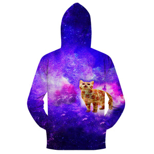 Zipper Cat Galaxy Hoodies-  Zipper Hoodies and Sweat Shirts- Cat Pizza Abstract