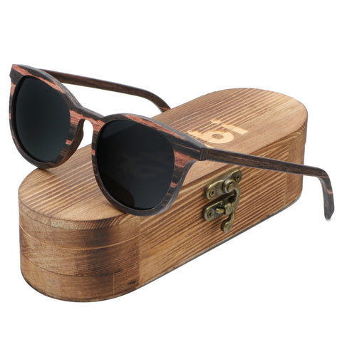 Ablibi Women Men Wood Bamboo Sunglasses Vintage Luxury Brand Designer Polarized Sun Glasses in Wood Box(walnut, black)