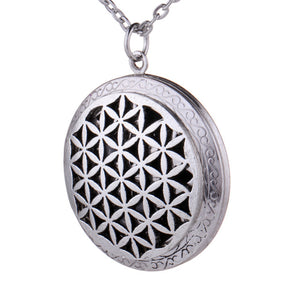 ANTIQUE SILVER STAR OF DAVID OM FLOWER OF LIFE PENDANT NECKLACE JEWELRY