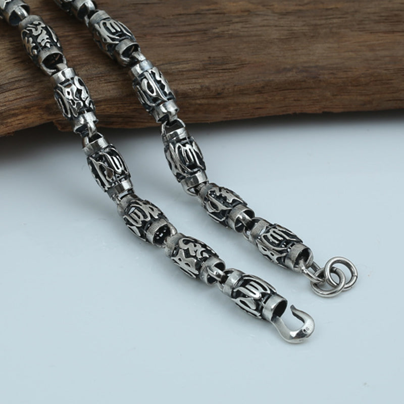 Heavy 925 Sterling Silver Necklace- Six Words 8mm Cylindrical Buddha Jewelry