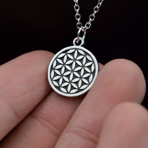 ANTIQUE SILVER ETCHED FLOWER OF LIFE NECKLACE PENDANT TINY NECKLACE