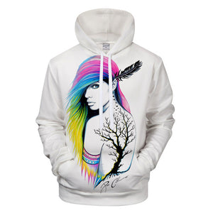 Girl Printed 3D Hoodies Sweatshirts Men Casual Tracksuits