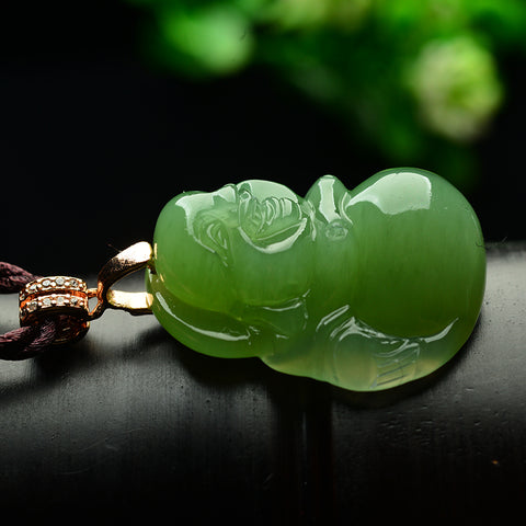 Natural Green Jade Carved Buddha Dangle Pendant Necklace