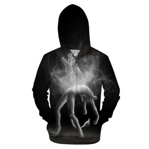 Hoodies Men Unisex Zip Up Sweatshirts Wolf Printed Pullover Tracksuits Drop Ship Brand