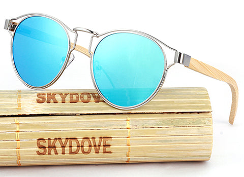 MIRROR GOGGLE SQUARE SKATEBOARD SUNGLASSES BAMBOO VINTAGE POLARIZED