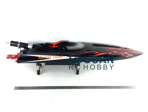 FIBERGLASS RC MONOHULL BOAT ENGINE WATERCOOLINGSYS BLACK WITH RED FLAMES