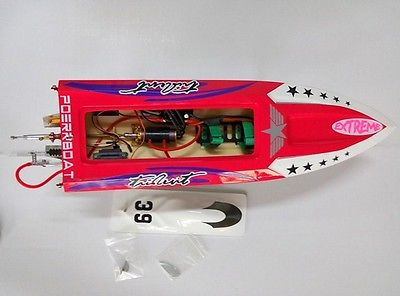 FIBERGLASS ELECTRIC RC RACING BOAT BRUSHLESS MOTOR RADIOSYS BATTERY