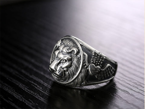 LION RING VINTAGE STEAMPUNK RETRO BIKER MENS STERLING SILVER JEWELRY