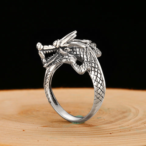 DRAGON RINGS FOR WOMEN VINTAGE PUNK ROCK BIKER ANIMAL ADJUSTABLE