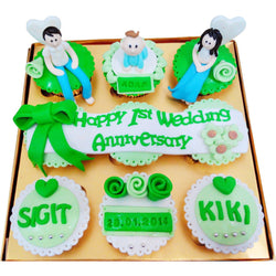 Romantic Green Family Anniversary Cupcakes (CCA908)
