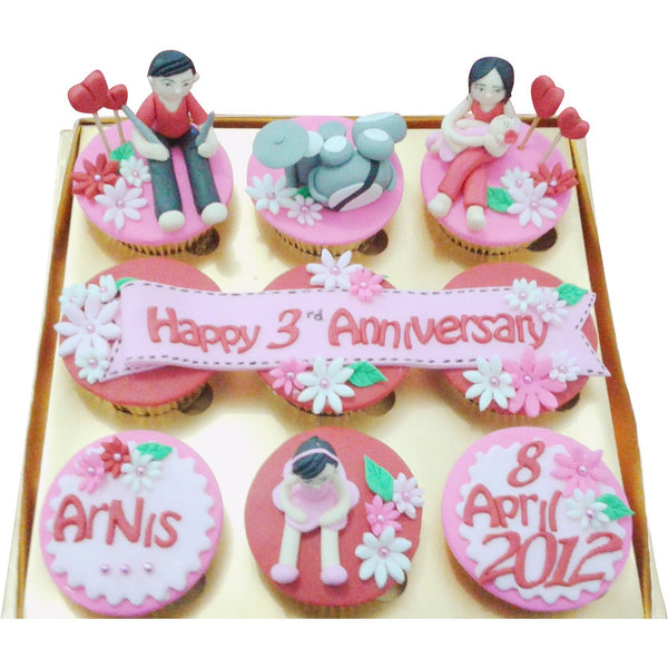 Pink Family Wedding Anniversary Cupcakes (CCA904)