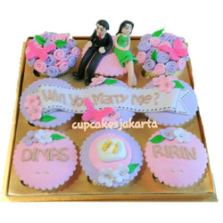 Purple Pink Proposal Hantaran Cupcakes (CCH902)